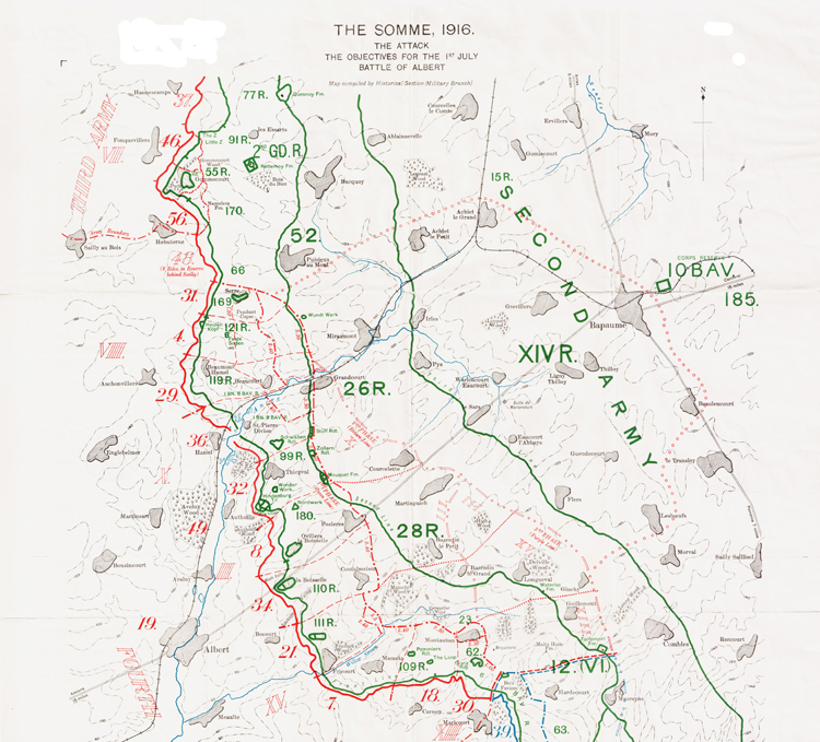 Map showing Allied and German front lines and Allied objectives for 1st July 1916