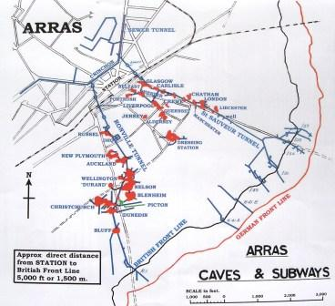 Map of tunnels under Arras